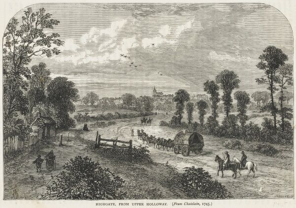 The entry into London via Highgate in the early 18th century