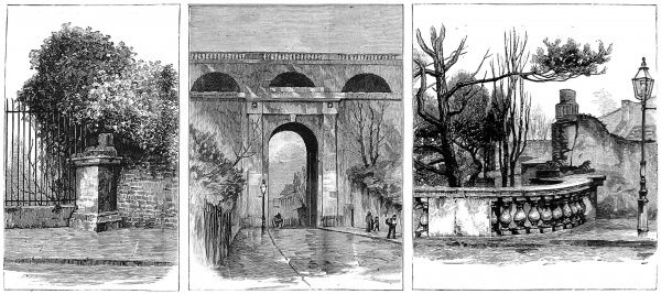 Engraving showing Highgate Archway, London, viewed from the Islington side, 1886