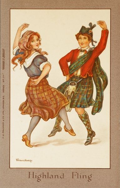 Two children, dressed in traditional costume, dance an energetic Highland fling