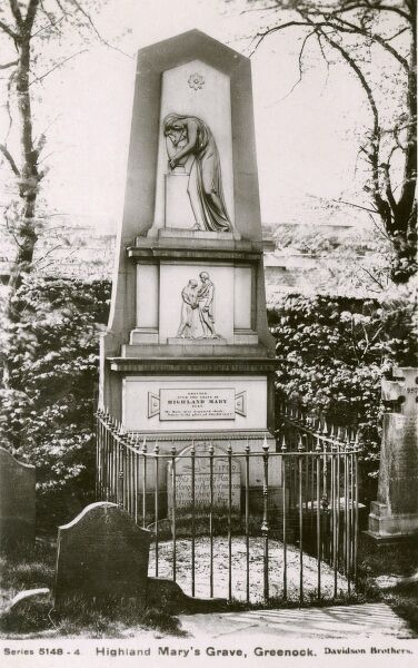 Highland Mary's Grave, Greenock. This monument was erected over her burial place in 1842. Highland Mary was a muse for Poet Robert Burns, who wrote about her