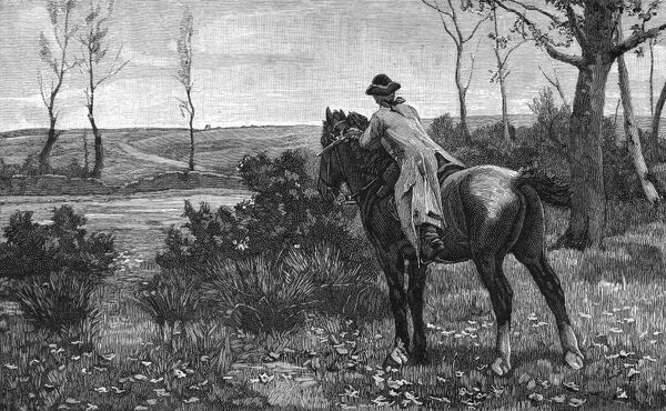 A highwayman, mounted on his horse, prepares to set off across the countryside in pursuit of his next victim. Date: 1880s