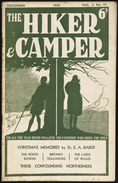 Front cover of Hiker and Camper magazine, devoted to one of the most popular pastimes of the 1930s. Two hikers pause on their walk to admire the scenic countryside. Green