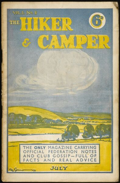 Front cover of a magazine devoted to hikers, ramblers and campers featuring a view across fields