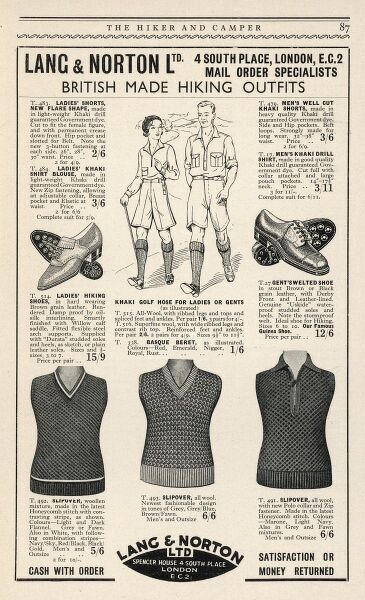 Advert for Lang & Norton, specialists in British made hiking outfits, including sensible walking shoes, khaki drill shorts and natty sleeveless pullovers