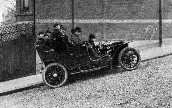 Climbing a hill with a gradient of 1in 609, with 9 passengers aboard, each with an average weight of 11st 2lb each, in a Rolls Royce in 1906