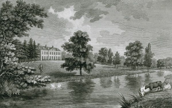 A distant view of Hillingdon House, formerly in Middlesex but now in London, the seat of the Marchioness of Rockingham. Date: 1786
