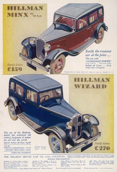 Motoring advert for the Hillman Minx and Hillman Wizard car from 1932