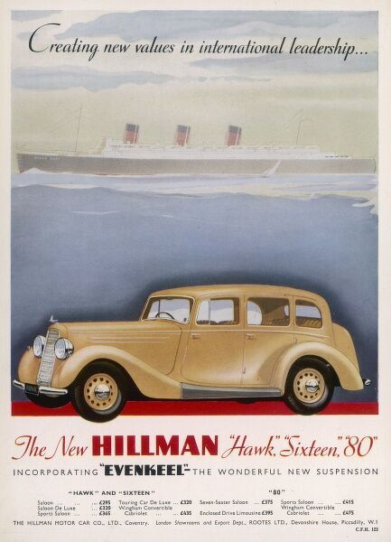 Advertisement for the Hillman cars including the Hawk, Sixteen and 80 incorporating Evenkeel, the wonderful new suspension