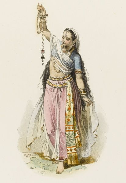 A woman of Hindostan. She is either an assistant in a jeweler's shop, showing off the goods, or she is doing an elaborate dance which involves jewelry... Date: 1722
