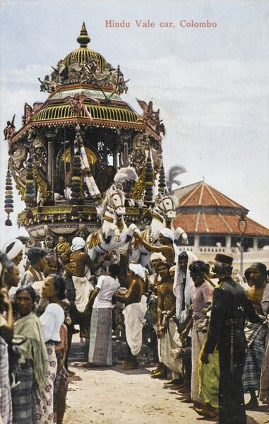 Hindu Juggernaut Procession - Ceremony at Colombo, Sri Lanka. The word juggernaut is derived from the Sanskrit 'Jagannatha' (meaning 'Lord of the universe') which is one of the many names of Krishna from the ancient Vedic scriptures of India