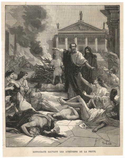 By his sensible precautions, the Greek physician Hippocrates saves the people of Athens from the worst effects of the plague which threatens them