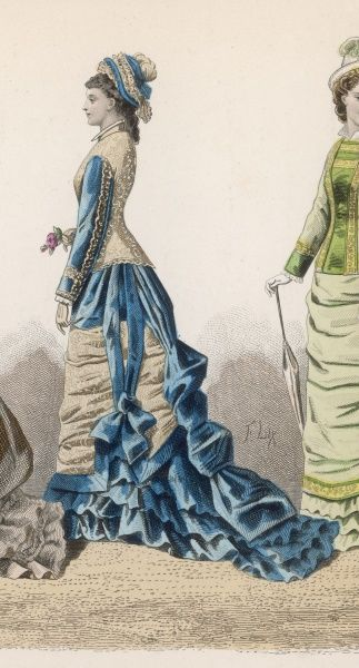 Change in silhouette: the bustle has slipped, bodice is elongated, the skirt is tightly swathed at the front & has a long train. Dresses of 2 colours are fashionable
