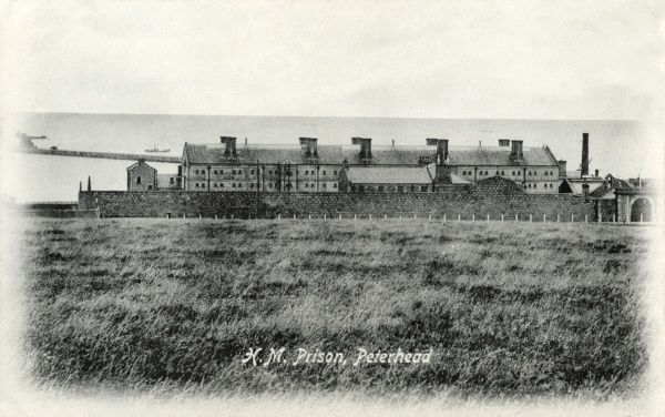 A view of Peterhead Prison and the North Sea beyond, Aberdeenshire. The prison opened in 1888 and was Scotland's only convict prison