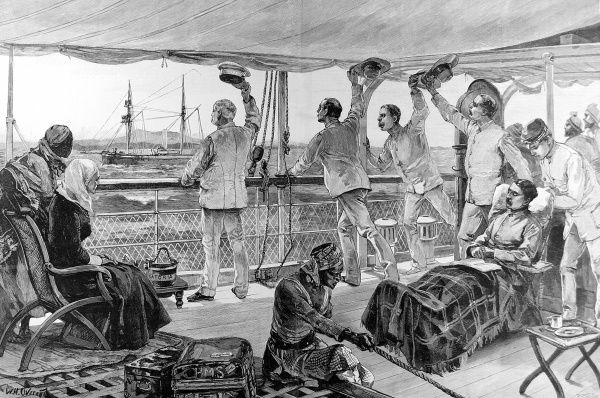 Engraving showing Sir Henry Morton Stanley (1841-1904) (on left, raising cap) and his officers returning from the Emin Pasha Relief Expedition aboard the steam-ship 'Katoria', 1889. Stanley is seen on the deck of the ship, waving goodbye to Mombasa