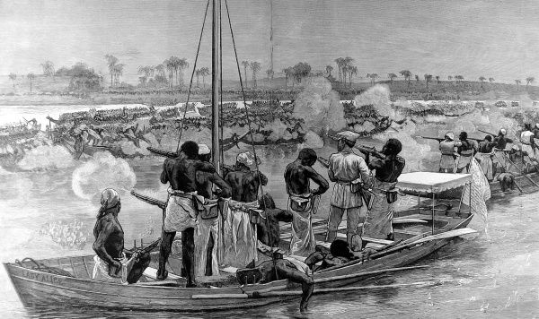 Engraving showing a battle between Sir Henry Morton Stanley's Anglo-American expedition of 1874-1877 and the war-canoes of the Bangala or Mangala tribe; Congo River, February 1877