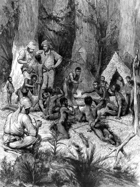Engraving showing Sir Henry Morton Stanley (1841-1904), the Anglo-America explorer and journalist, meeting with some forest pygmies, during one of his expeditions to Central Africa. This image shows the pygmies eating snake round a large cooking pot