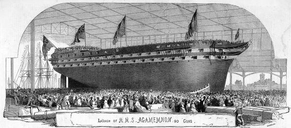 Launch of H.M.S Agamemnon, the first steam ship to attempt to lay the Trans-atlantic telegraph cable