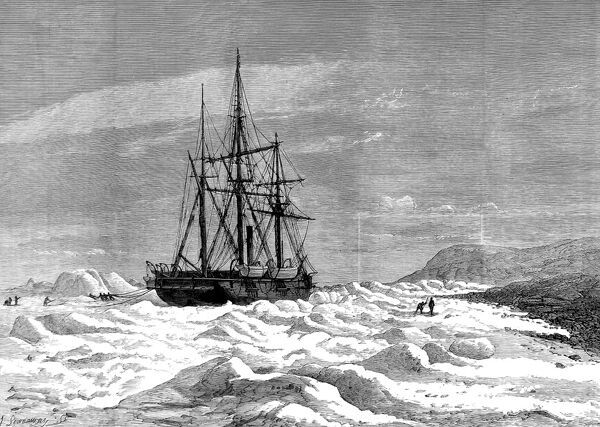 Engraving showing HMS 'Alert' caught in the ice, against the shore of Cape Beechey during the 1875-1876 British Arctic Expedition. In 1875 the British Admiralty sent Captain George Nares with two ships, HMS 'Alert' and HMS 'Discovery&#39