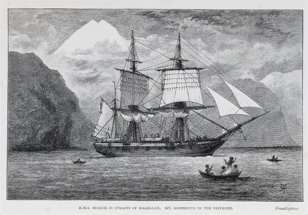 HMS Beagle in straits of Magellan. Mt. Sarmiento in the distance. Date
