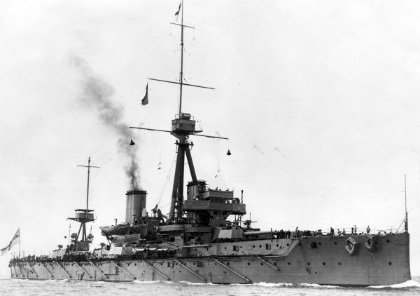 HMS Dreadnought, British battleship, launched 1906, served in the First World War, decommissioned 1919. Date: 1914-1918
