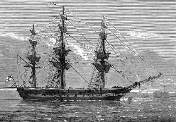 Engraving showing HMS 'Eurydice' in Portsmouth Harbour, shortly before her last voyage, 1878