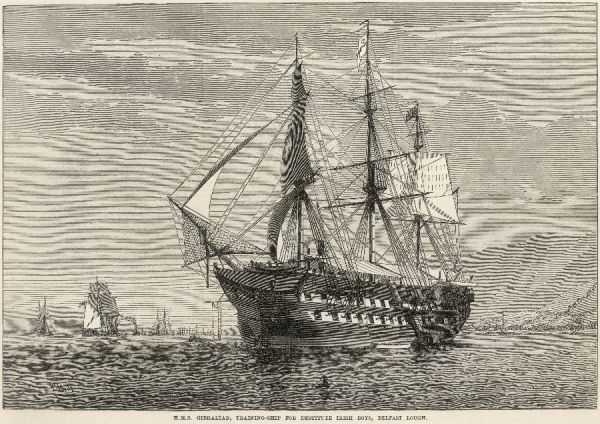Engraving of H.M.S Gibralter, a training-ship for destitute Irish boys, Belfast Lough
