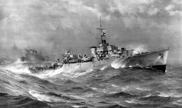 Painting showing HMS 'Helmsdale', a 'River' class Frigate of the Royal Navy, on convoy escort duty in the North Atlantic, 1944. 'Helmsdale' is shown flying the signal 'V J' - telling the convoy to 'Keep station'
