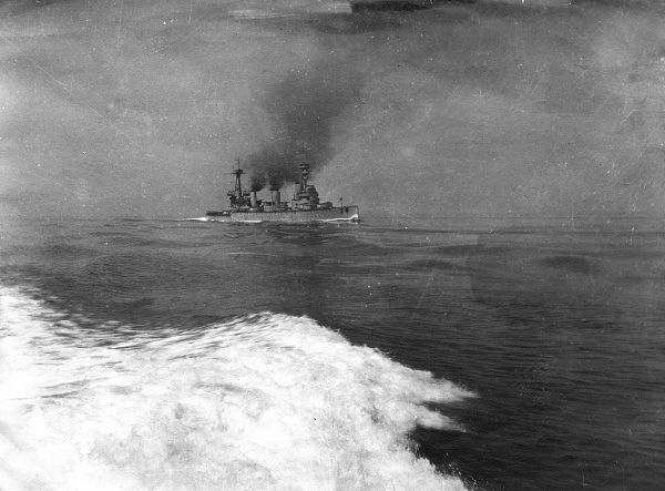 HMS Indefatigable, British battlecruiser, launched 1909, served during the First World War. Seen here going into action during the Battle of Jutland, on the day she was sunk.  31 May 1916