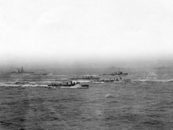 HMS Kempenfelt (left, launched 1915) and other British Marksman-class destroyers at sea during the First World War. Date: 1915-1918