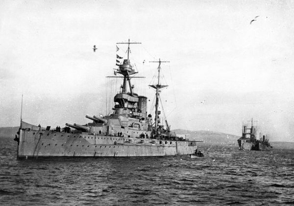 HMS Malaya, a Queen Elizabeth class British battleship, launched 1915, served during the First World War including the Battle of Jutland, also served in the Second World War, decommissioned 1944. Date: 1914-1918