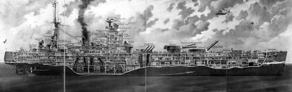 Illustration showing a cross section of the battleship HMS 'Nelson', 1930. Launched in 1925 at the Armstrong yard, Newcastle, HMS 'Nelson' served in World War II and was scrapped in 1949