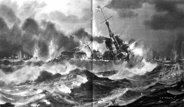 Illustration showing the Royal Navy destroyer HMS 'Onslow' attacking superior German forces during the Battle of the Barents Sea, December 1942
