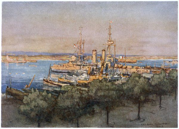 HMS 'Queen', trawlers and drifters at Taranto, Italy