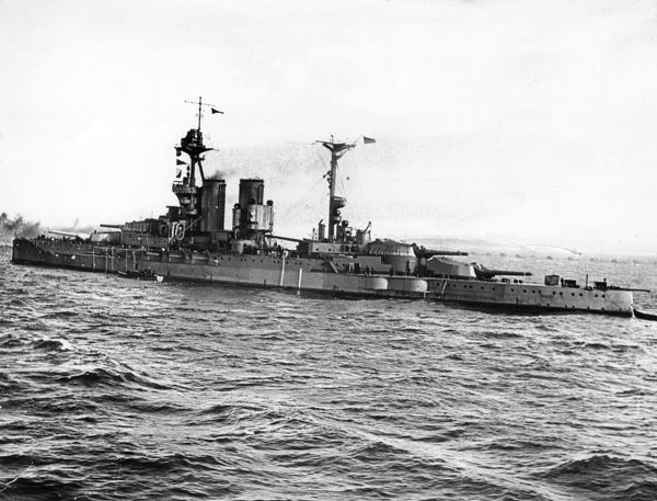 HMS Valiant, a Queen Elizabeth class British battleship, launched 1914, served during the First World War including the Battle of Jutland, also served in the Second World War, decommissioned 1945, then used for training until 1948, when she was sold for scrap
