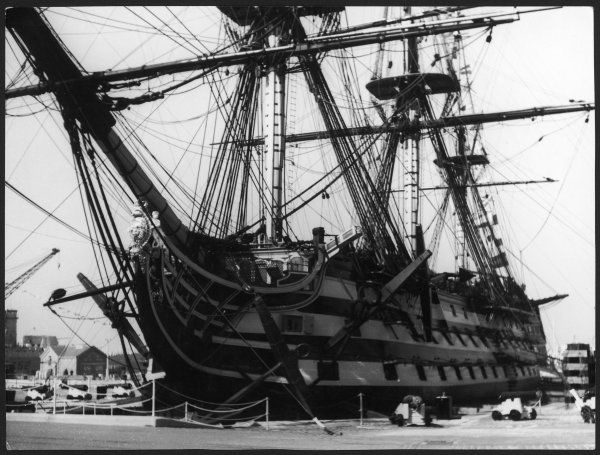 Lord Horatio Nelson's flagship, H.M.S. Victory docked at Portsmouth, Hampshire, England. Launched in 1765, famously at the Battle of Trafalgar