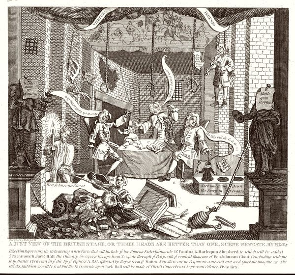 A JUST VIEW OF THE BRITISH STAGE or 'Three heads are better than one, scene Newgate&#39