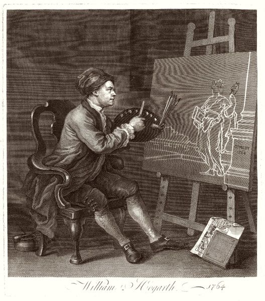 WILLIAM HOGARTH Seated at his easel, painting 'The Comic Muse&#39