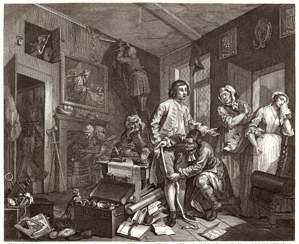 1. The young heir takes possession of the miser's effects