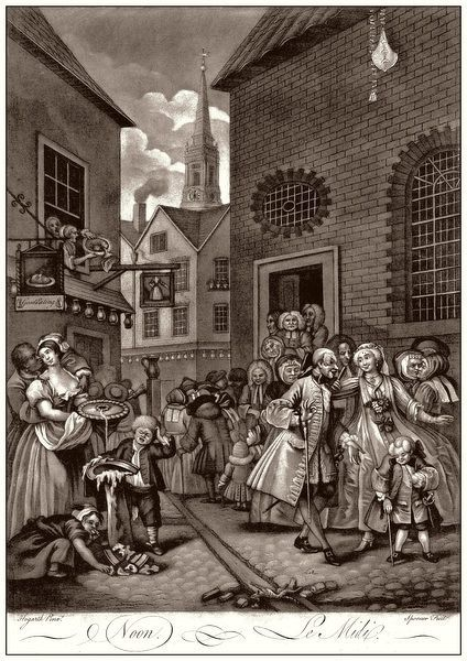 Hogarth, Four Times of the Day, 2. Noon. A group of Huguenots attend the French Church in Hog Lane, London (right), opposite an eating house and a group of disreputable people (left). St Giles in the Fields is visible in the background