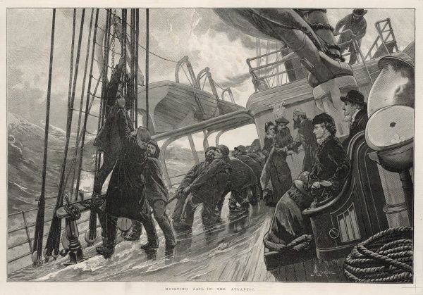 Engraving showing the scene on deck as the ship's crew hoists sail in rather heavy seas. Some of the passengers appear to be enjoying the spectacle, whereas other look rather seasick