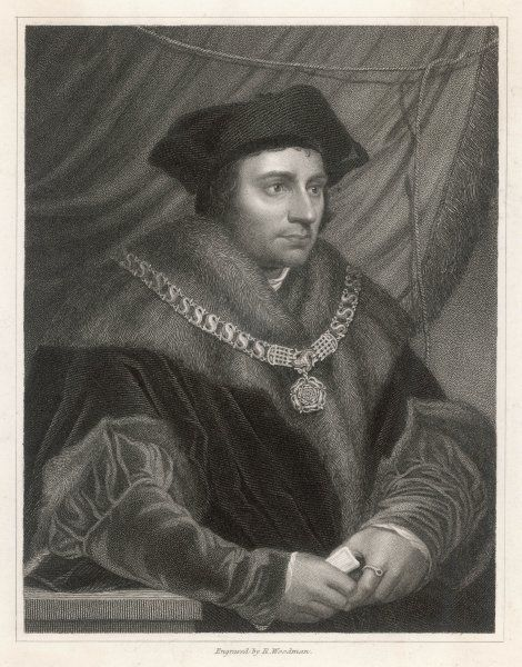 SIR THOMAS MORE English writer and statesman, depicted holding a letter
