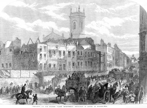 Engraving showing the Holborn Hill in London, as a number of houses there were demolished in order to make way for the Holborn Valley Viaduct, 1866