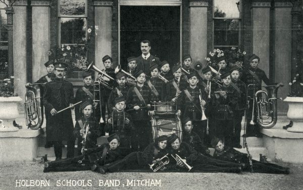 Boys' band at Holborn Schools, High Street, Mitcham, Surrey - originally established in 1856 in the grounds of Eagle House. The Schools provided accommodation, education and industrial training for pauper children away from the main workhouse