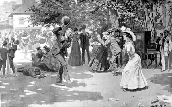 Illustration showing a group of holidaymakers dancing on Hampstead Heath, London, during the summer of 1902
