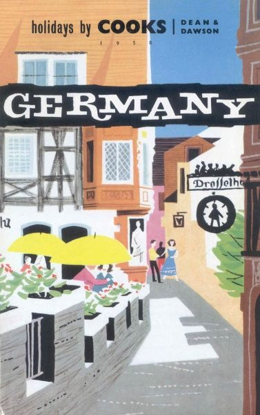 Cover illustration for Holidays to Germany, by Cooks and Dean & Dawson, showing a German street scene, with people sitting at tables outside a cafe