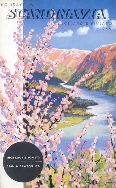 Cover illustration for Holidays in Scandinavia, Iceland and Finland, with Thomas Cook & Son Ltd and Dean & Dawson Ltd, showing a fjord and mountains with a colourful spray of pink blossom in the foreground