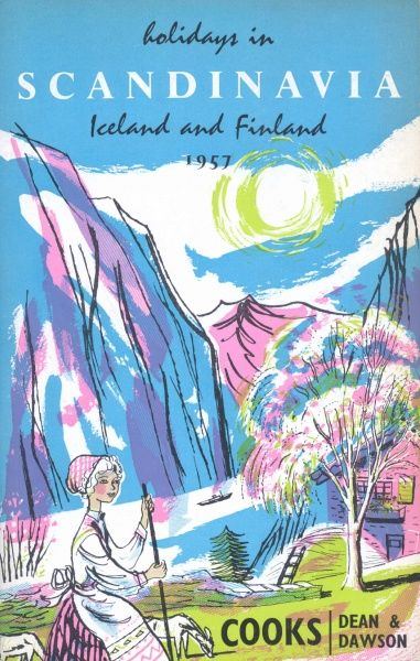 Cover illustration for Holidays in Scandinavia, Iceland and Finland, with Cooks and Dean & Dawson. A female deer herder stands on a grassy hillside with two deer. There is a house nearby, with a boat on the fjord and mountains behind
