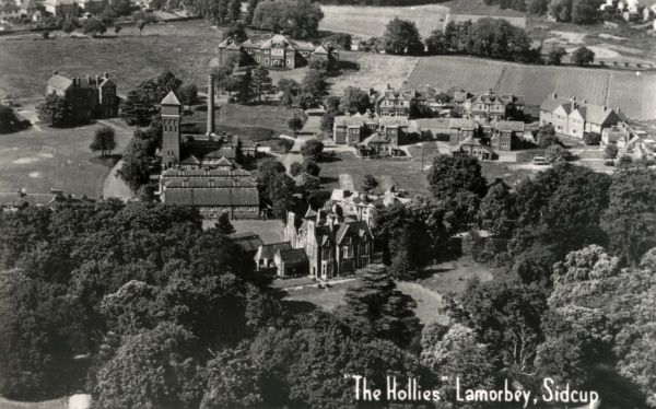 Aerial view of The Hollies, the Greenwich & Deptford Union's cottage homes at Lamorbey, near Sidcup, Kent, opened in 1902 to house pauper children away from the workhouse. At the centre can be seen the old mansion after which the site was named