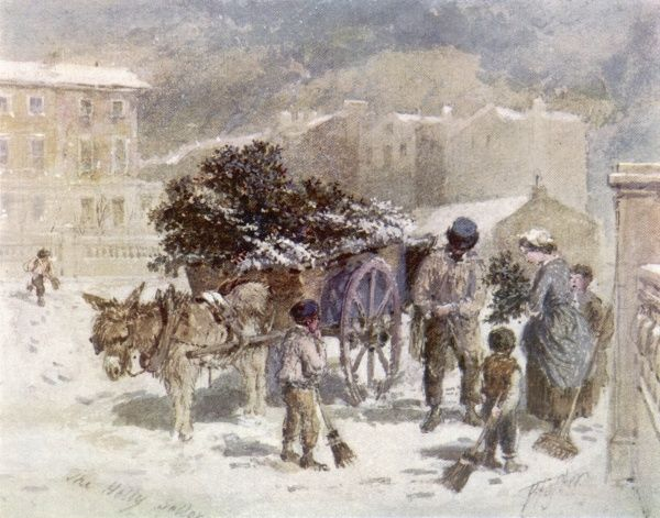 The Holly cart - a street vendor sells holly from door to door