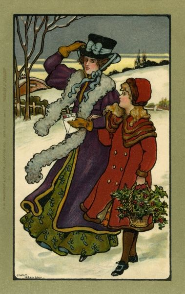 Holly gathering at Christmas Date: 1907